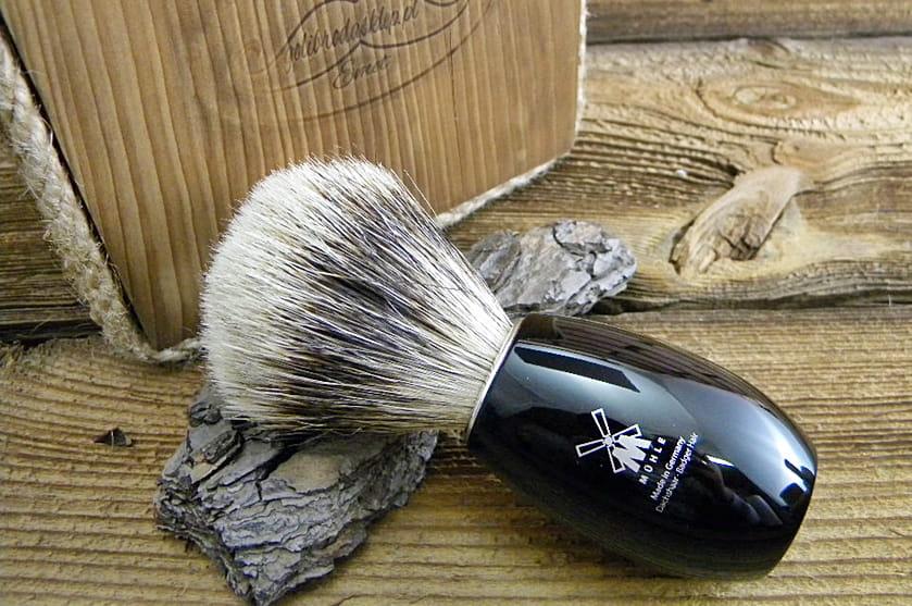 Pędzel do golenia MÜHLE 281K856 - Fine Badger, czarna żywica.